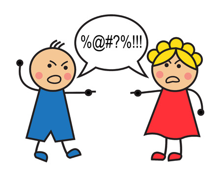 Cartoon man and woman arguing and cussing Illustration