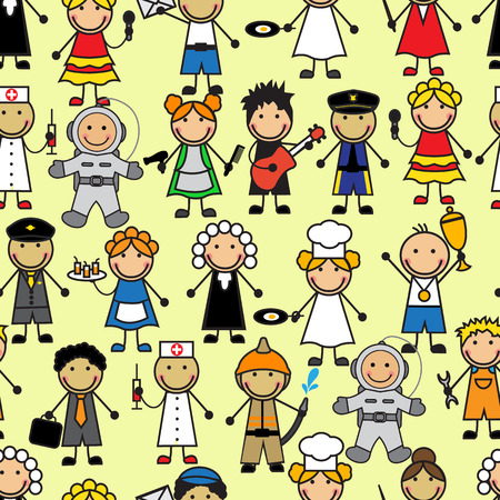 Cartoon seamless pattern with people of different professions Illustration
