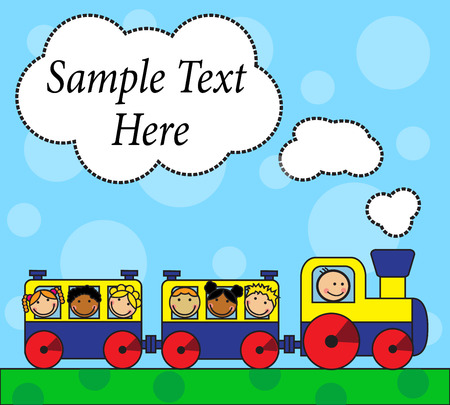 Cartoon background with locomotive and children traveling on a background of grass and sky