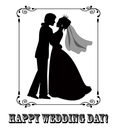 cartoons outline: Silhouettes of the bride and groom in a patterned frame