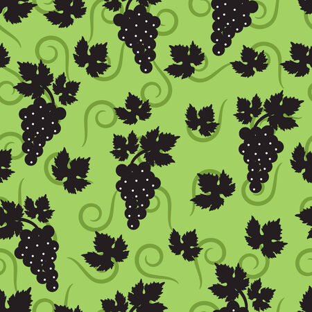 seamless green background with leaves and berries of grapes Vector