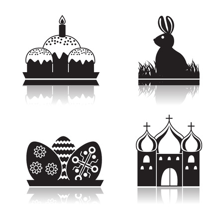 cupola: Set of black Easter icons on white background