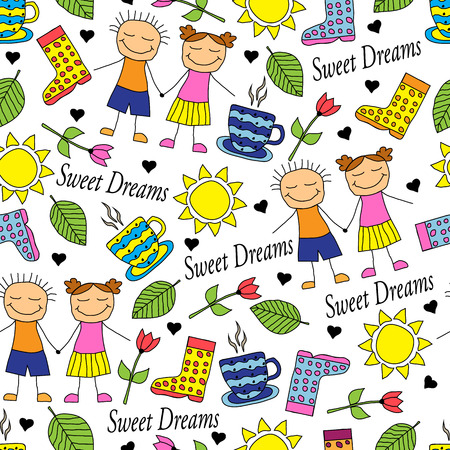 Cartoon seamless pattern with doodle couple in love and miscellaneous items