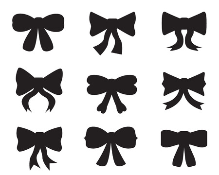 Set of black silhouettes of different bows on white background