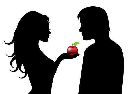 Silhouettes of Adam and Eve with the forbidden fruit in hand Vector