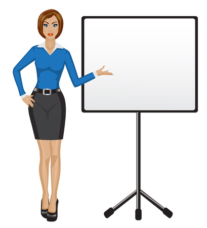 business woman standing: business woman holding a presentation and shows his hand on a poster Illustration