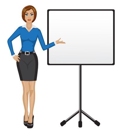 personas de pie: Mujer de negocios la celebración de una presentación y muestra su mano en un cartel