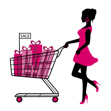 woman shopping cart:   silhouette woman rolls cart with gifts and shopping on a white background   Illustration