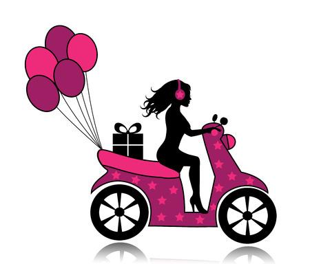 silueta de una mujer en una motocicleta conducida por un regalo y globos