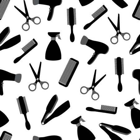 haircutting scissors: seamless background with barber equipment on white background