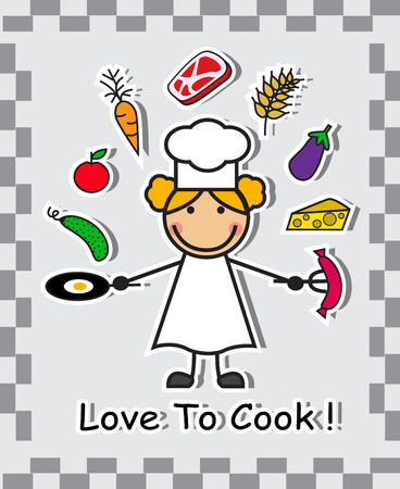 chef s hat: Cartoon chef and various food ingredients on a light background