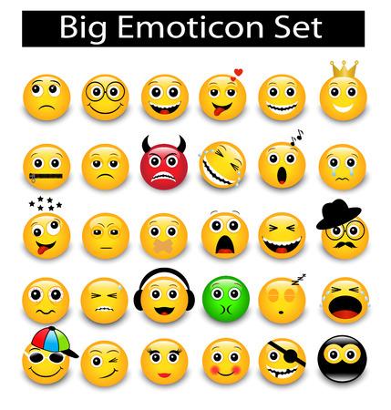 große Set ein runde gelbe Emoticons auf einem weißen Hintergrund Vektorgrafik