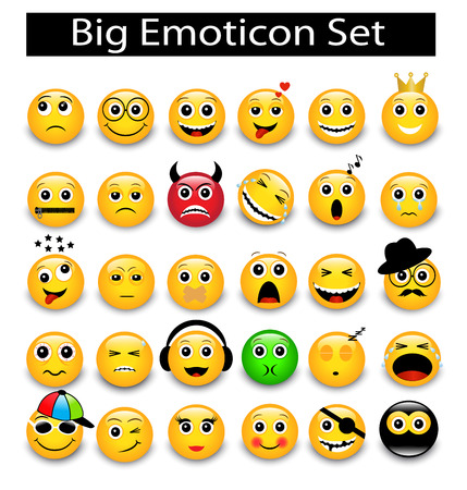 emoticons: large Set a round yellow emoticons on a white background