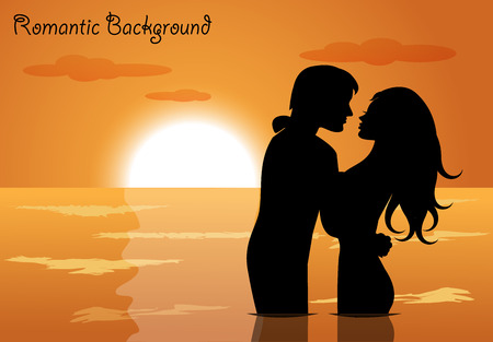 Heterosexual couple in love in the sea against the setting sun Vector