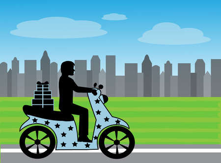 silhouette of a man on a motorcycle rides on the road against the background of the city Illustration