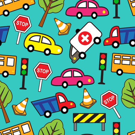 funny car:   Bright Cartoon seamless pattern with cars and traffic signs