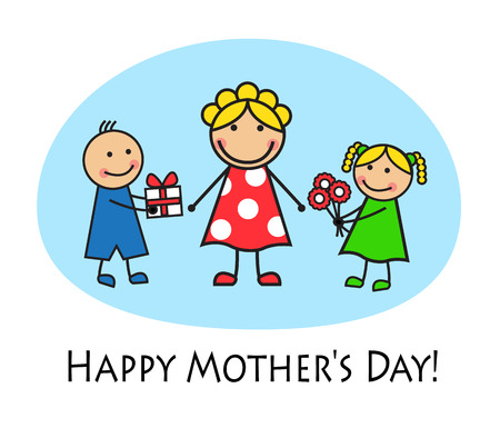 two generation family:   Cartoon card for Mother s Day  Daughter gives her mother flowers, son gives mom a gift   Illustration