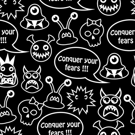 Cartoon seamless black background with different monsters and the inscription  conquer your fears  Vector