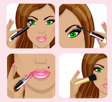 cartoon lips: set of pictures with a beautiful woman s face and applying makeup