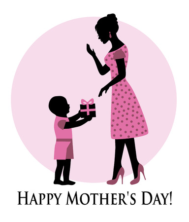 child giving a gift to mom on Mother s Day Vector