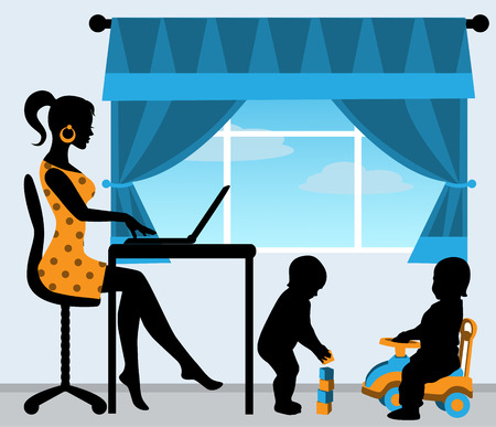 mom sitting at the computer, while the children play in the room Vector