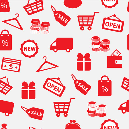 seamless white background with red shopping and finance icons Vector