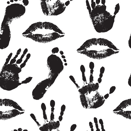 seamless background with black lip prints, palms and feet Vector