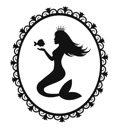mermaid holding a fish mermaid and fish in black Floral frame Vector