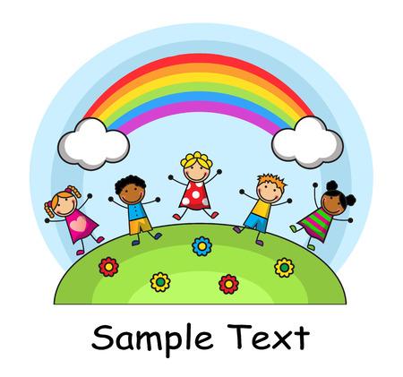 niños: Cartoon niños saltando en el fondo del cielo y el arco iris Vectores