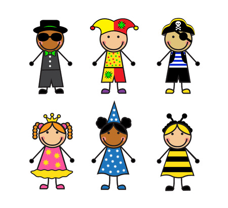 Cartoon children in different carnival costumes on white background Vector