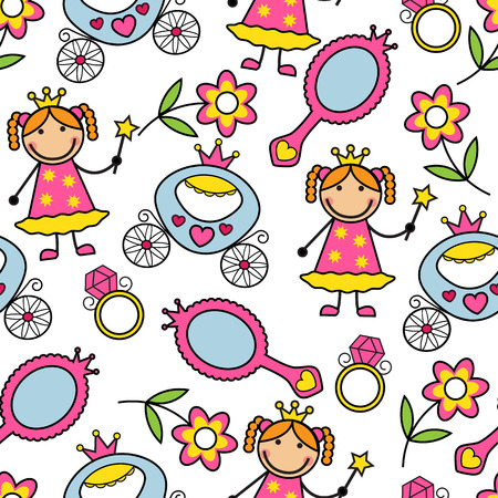 Cartoon seamless pattern with princess and her belongings Vector