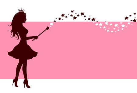 Rosa Hintergrund mit einer Silhouette von einer Fee mit einem Zauberstab Sternen