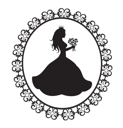 magnificent: silhouette of the princess in a magnificent dress with flowers in vintage frame Illustration