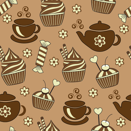 seamless brown background with tea and sweets   Vector