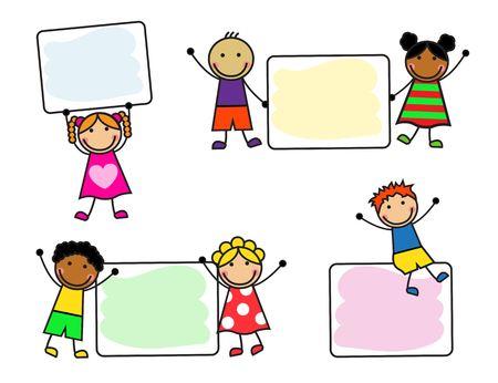 Cartoon niños sonrientes con carteles sobre fondo blanco