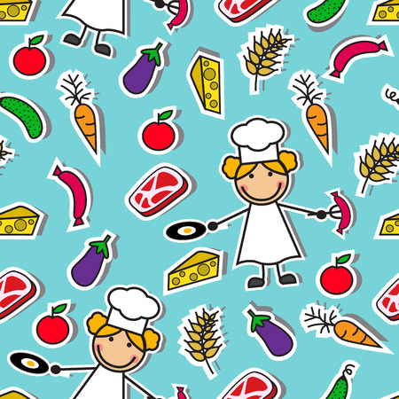 Cartoon seamless pattern with chef and ingredients for cooking Vector