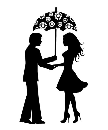 Silhouettes of men and women under an umbrella on a white background Vector
