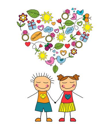 heterosexual: Cartoon heterosexual couple and love symbols collected in the form of heart