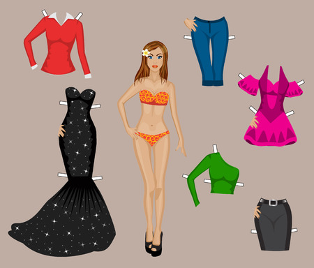 paper doll girl in a bathing suit with a set of different clothes for cutting Vector