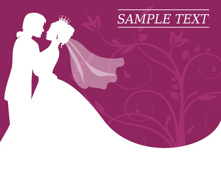 silhouettes of the bride and groom on a burgundy background with swirls Vector