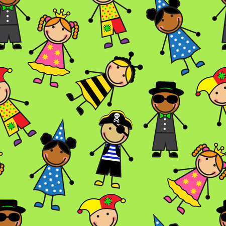 Cartoon seamless pattern with children in different carnival costumes Vector