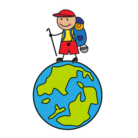 nomadic: Cartoon tourist with a backpack going up the globe Illustration