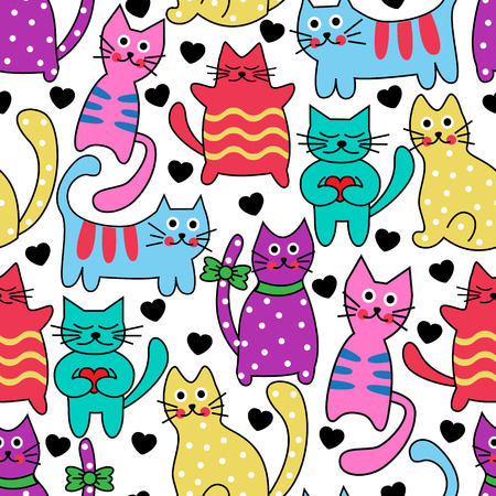 Cartoon seamless multicolored black cats and hearts on a white background