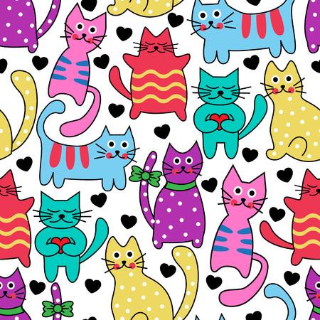 Cartoon sans soudure chats et des coeurs sur un fond blanc noir multicolores Banque d'images - 28524667