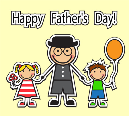 cartoon dad: Cartoon dad holding hands children Boy with balloon and girl with flowers