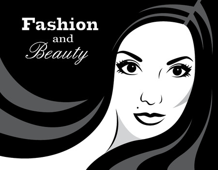long black hair: beautiful female face with long black hair and a place for the background   Illustration