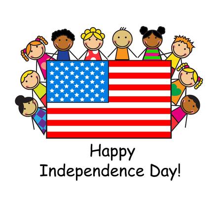niños de diferentes razas: Los niños de dibujos animados de diferentes razas que sostienen una bandera estadounidense