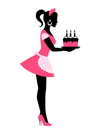 waitresses: Silhouette of a woman in an apron holding a cake with candles Illustration