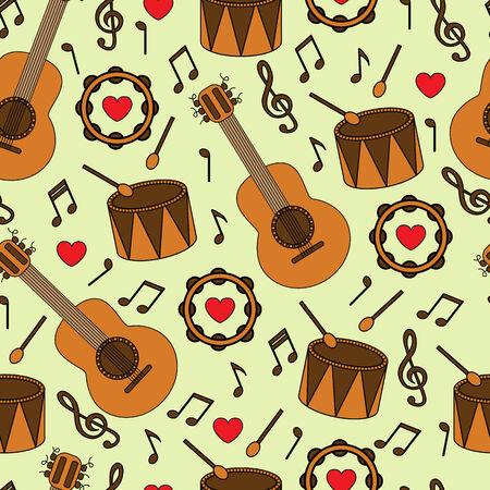 pandero: Fondo transparente con diferentes instrumentos musicales y notas Vectores