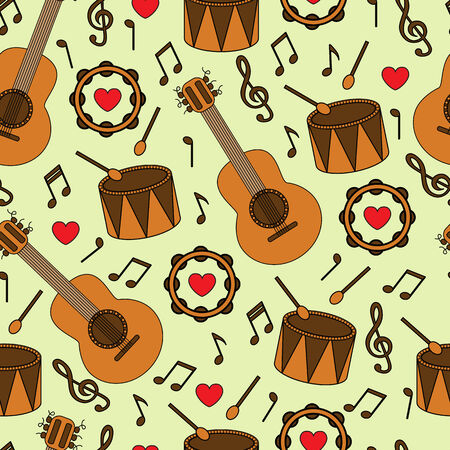 tambourine:   Seamless background with different musical instruments and notes